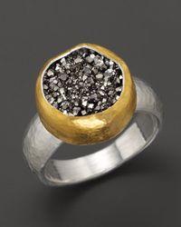 Gurhan Metallic Sterling Silver and 24k Gold Galaxy Druzy Ring
