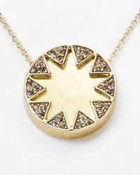 House of Harlow 1960 Metallic Earth Metal Sunburst Necklace 16