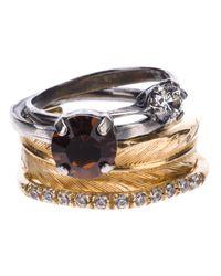 Iosselliani Metallic Stack Feather Ring Set