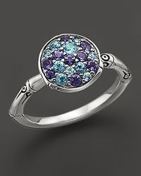 John Hardy Metallic Bamboo Silver Lagoon Colorway Small Round Ring With Swiss Blue Topaz And Iolite