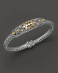 John Hardy - Metallic Sterling Silver And 18k Bonded Gold Dot Deco Oval Station Bracelet - Lyst