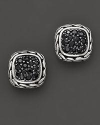 "John Hardy - Metallic ""kali Lava"" Small Square Stud Earrings With Black Sapphire - Lyst"