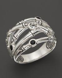 John Hardy Metallic Batu Bamboo Silver Woven Ring with Black Onyx and White Topaz