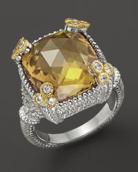Judith Ripka - Metallic Small Monaco Ring with Canary Crystal - Lyst