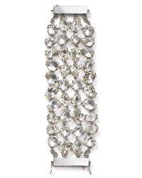 kate spade new york - Metallic Crystal Petals Statement Bracelet - Lyst