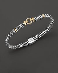 Lagos - Metallic 18k Green Gold And Sterling Silver Caviar And Diamonds Rope Bracelet, 6mm - Lyst