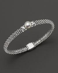 Lagos - Metallic Luna Sterling Silver Caviar Bracelet With Pearl - Lyst