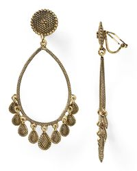 Lauren by Ralph Lauren | Metallic Textured Gypsy Hoop Clip On Earrings | Lyst