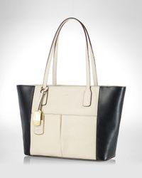 Lauren by Ralph Lauren - White Tote Newbury Colorblock Pocket Shopper - Lyst