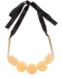 Marni Yellow Resin Bead Ribbon Necklace