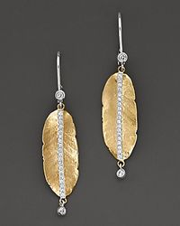 Meira T | Metallic . Diamond And 14k Gold Leaf Earrings | Lyst