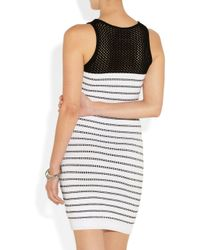 milly mia striped ribbed knitted dress in white  lyst