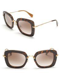 Miu Miu Brown Noir Thick Geometric Cateye Sunglasses