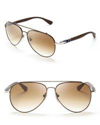 Persol Metallic Crystal Metal Pilot Aviator Sunglasses for men