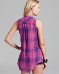 Rails Purple Shirt Evyn Plaid Sleeveless