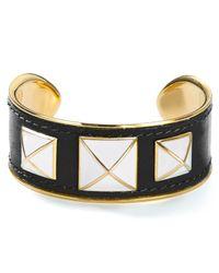 Rebecca Minkoff | Metallic Small Enamel Stud Leather Bracelet | Lyst