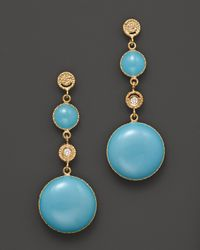 Roberto Coin | 18k Yellow Gold Diamond and Turquoise Enamel Small Earrings | Lyst