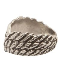 Saint Laurent Metallic Wings Ring for men