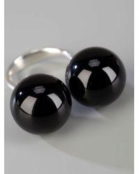 Saskia Diez - Black Silver Sling Ring No3 - Lyst