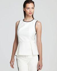 Tibi White Top Color Block Sleeveless Peplum