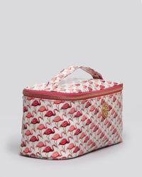 Tory Burch Pink Cosmetic Case Flamingo Elongated Train