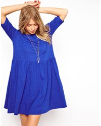 ASOS - Blue Smock Dress In Nepi - Lyst