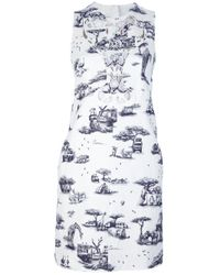 Carven | Gray Border Print Dress | Lyst