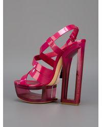 Casadei Pink Block Heel Platform Sandal