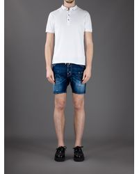DSquared² Blue Double Waistband Denim Shorts for men