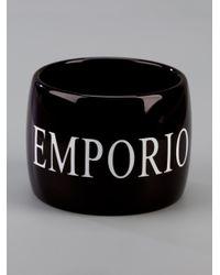 Emporio Armani | Black Wide Bangle | Lyst