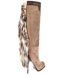 Gianmarco Lorenzi - Natural Long Boot with Fur Tassel - Lyst