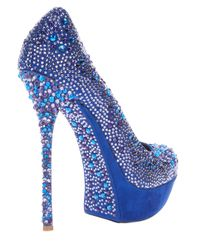 Gianmarco Lorenzi | Blue Crystal Embellished Pump | Lyst