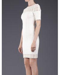 Hervé Léger White Cutout Grid Dress