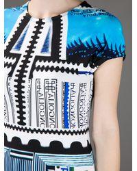 Mary Katrantzou Blue Bloomberg Print Jersey Dress