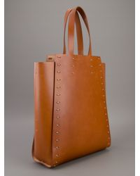 Paco Rabanne Brown Panelled Shopper Bag