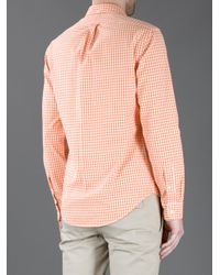 Polo Ralph Lauren Orange Button Down Checked Shirt for men