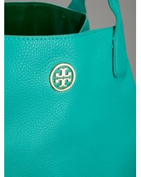 Tory Burch Blue Brand Embossed Tote Bag