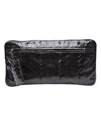 Bottega Veneta Black Python Zipper Clutch