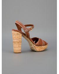 Car Shoe Brown Wicker Heel Sandal