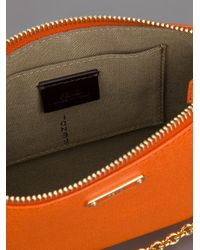 Fendi Orange Leather Clutch