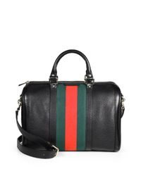 Gucci   Black Vintage Web Medium Boston Bag   Lyst
