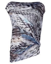 Helmut Lang | Blue Feather Print Top | Lyst