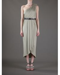 Kai-aakmann - Green Oneshoulder Draped Dress - Lyst