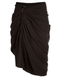 Lanvin | Brown Gathered Asymmetric Skirt | Lyst