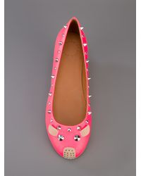 Marc By Marc Jacobs Pink Studded Mouse Ballet Flat