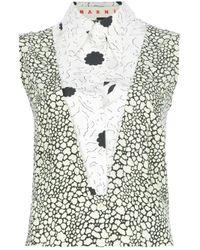 Marni Natural Printed Cotton And Silk-blend Top