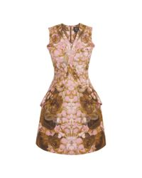 McQ Brown Rose Petal Bust Pleat Exaggerated Dress