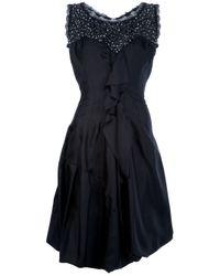 Nina Ricci | Black Sleeveless Flared Dress | Lyst