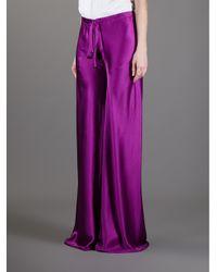 Roberto Cavalli Purple Wide Leg Drawstring Trouser