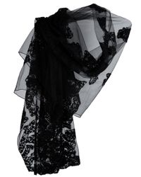 Valentino | Black Bead-Embellished Floral Lace Wrap | Lyst